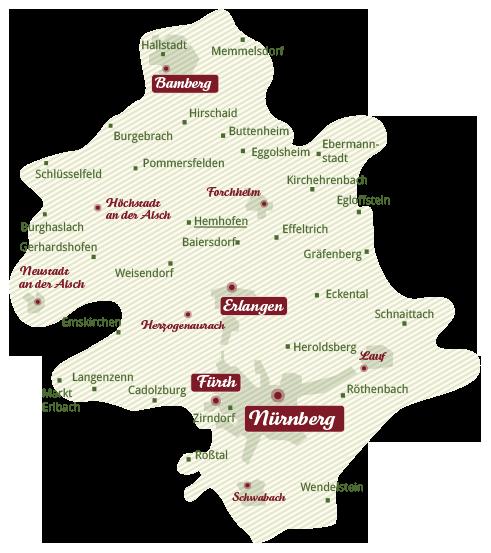 Liefergebiet regionale Biokiste Franken (Erlangen, Nürnberg, Fürth, Forchheim, Bamberg, Schwabach)